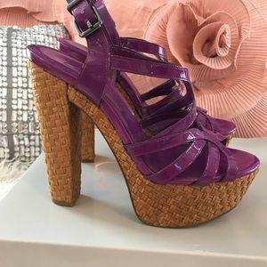 Patent purple Jessica Simpson Wedge Heel Sz 7